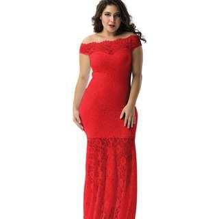 CELLY Plus Size Red Lace Elegant Party Gown (CSOH V1073-4P)