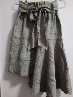 🚚 Assymetrical checkered / plaid tie front high waisted skirt