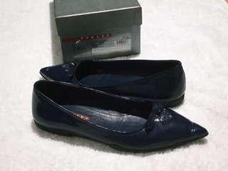 Authentic Prada Women's Blue Patent Leather Pointy Toe Flats