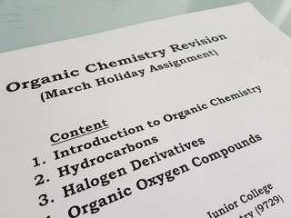 H2 Chemistry Organic Chem Revision Package