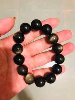 13mm珠大黑耀石 黑金莎石