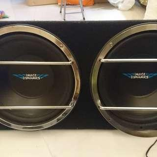 "Image Dynamics 12"" X 2 Sub woofer, 3 排 power bracker, Infinity Reference 610A power amp, E Cap 2,000,000電容"