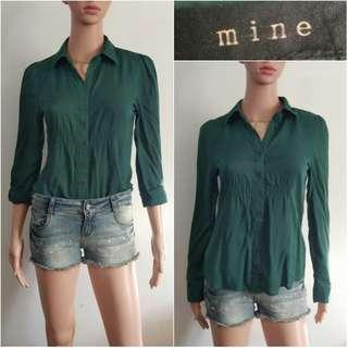 (S) Mine dark green soft cotton top