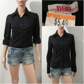 (S) D66 black cotton polo top