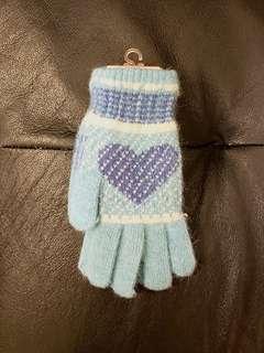👍全新 湖水藍 兔毛 保暖手襪