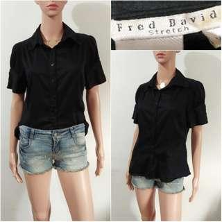 (M-L) Fred David stretch black polo