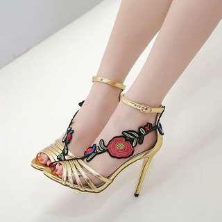Gold Strappy Sandals with Flower Applique size 36 and 39