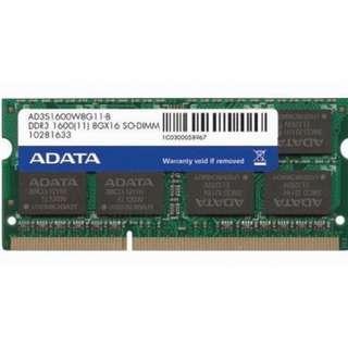 🚚 威剛 ADATA 1600 8G DDR3 雙面顆粒 、筆電用、終身保固 、測試良品【 單支價 $1490 】
