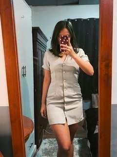 Pastel Plaid Button Dress