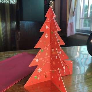 熱賣中!!聖誕樹立體賀卡(紅綠兩色)