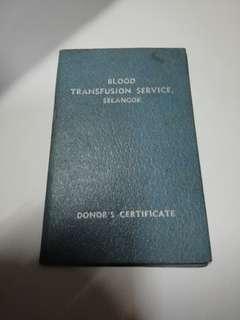 1960 donor card.. Selangor