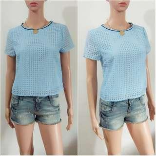 (S-M) Korean blue eyelet crop top