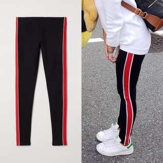 H&M Black leggings with side stripes