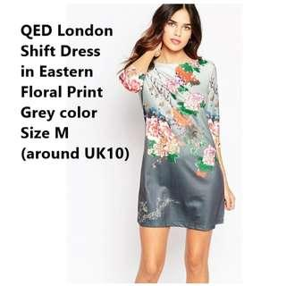 QED ASOS Grey London Shift dress in Eastern Floral Print Size M (UK10)