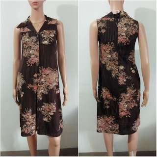(M-L) Korean brown floral polo dress