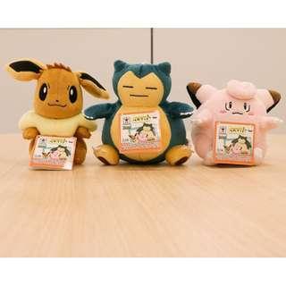 Dec Banpresto Prize Pokemon Eevee / Snorlax / Clefairy plush (Pre-Order)