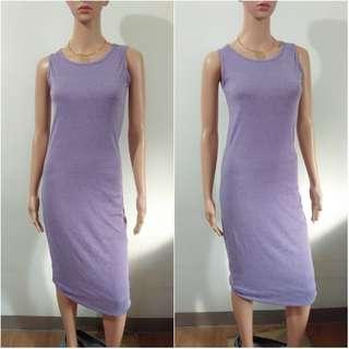 (S-M) Korean body fit purple cotton maxi dress