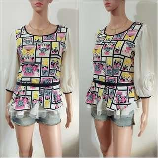 (M) Korean printed fashion top