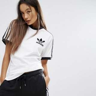 adidas Originals White Three Stripe T-Shirt