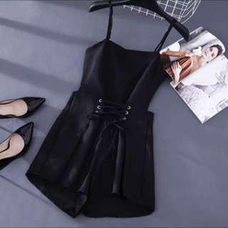 Black Lace Up Romper Jumpsuit