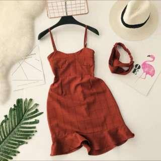 Red Grid Checkered Dress with Headband