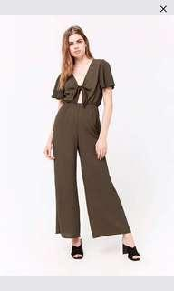 Forever 21 Green tie front jumpsuit BNWT