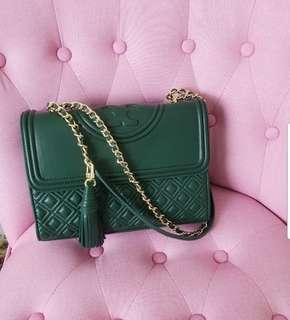 8e0d0a640e691 Tory Burch Authentic Large Fleming Convertible Norwood Royal Green color