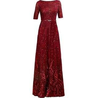 Premium quality red lace & sequined dress/gown