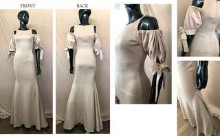 Nude off shoulder Long Gown for RENT