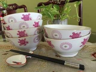 """中国醴陵 Vintage medium size 6"""" old stock New bowls"""