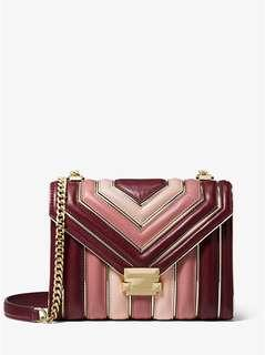 Michael Kors Whitney Large Quilted Tri-Color Leather Convertible Shoulder Bag