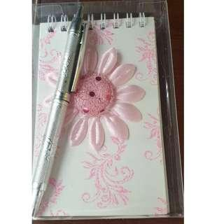 Pink Sun Flower, Red, Pink Ribbon Notebook with pen gift set