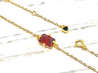 Rectangular Garnet red CZ Bracelet in Silver 925 (Yellow Gold Plated)