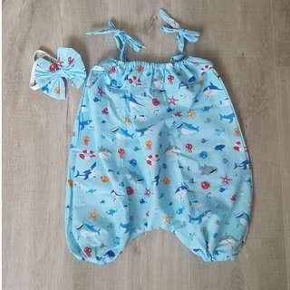 *Last Pc Clearance* Handmade Premium Playsuit – Baby Shark Print