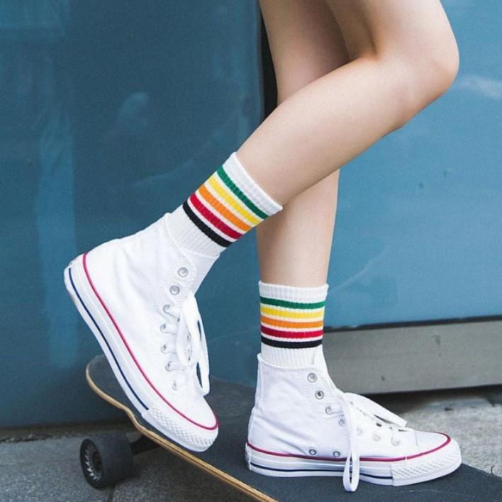 good service fashion styles exquisite style 3col) rainbow tumblr ulzzang korean striped socks, Women's ...