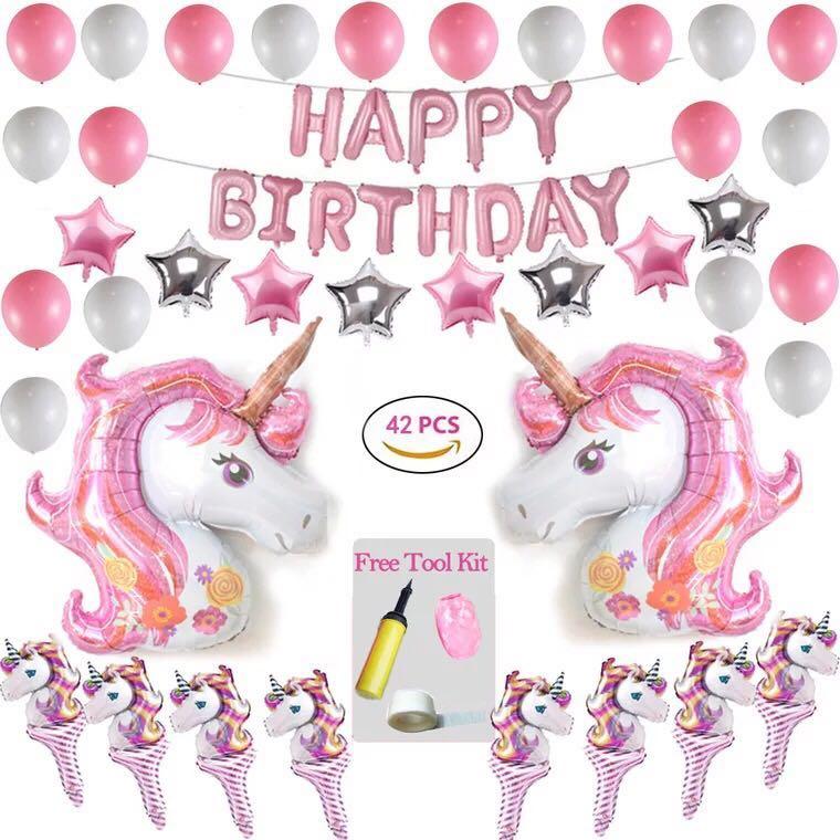 42 Pieces Set Unicorn Birthday Party Balloon Set Girl Birthday