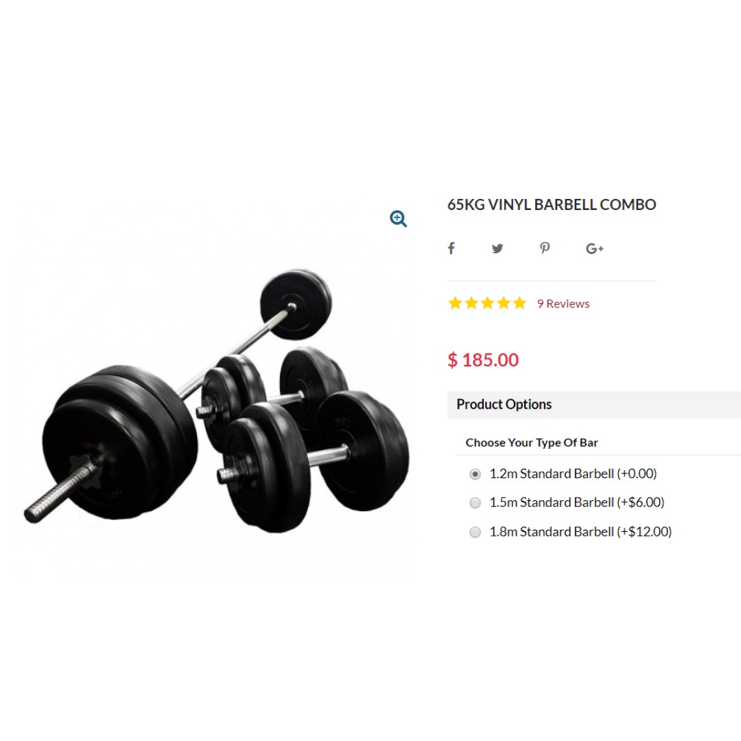 24KG PRO FITNESS  VINYL WEIGHTS AND TRI COMBI BAR brand new