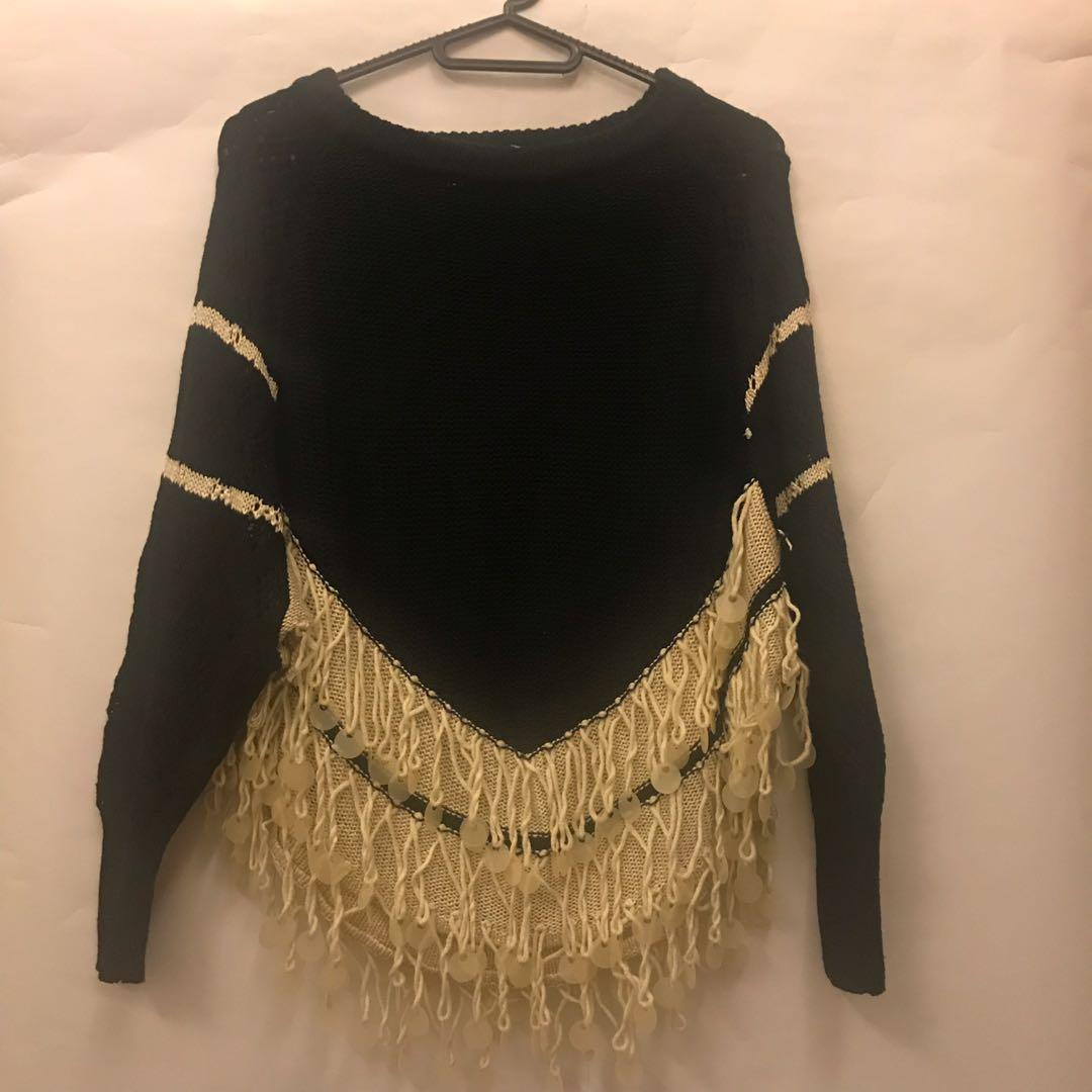珀西米雅風流蘇亮片針織上衣