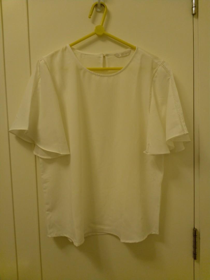全新白色雪紡上衣