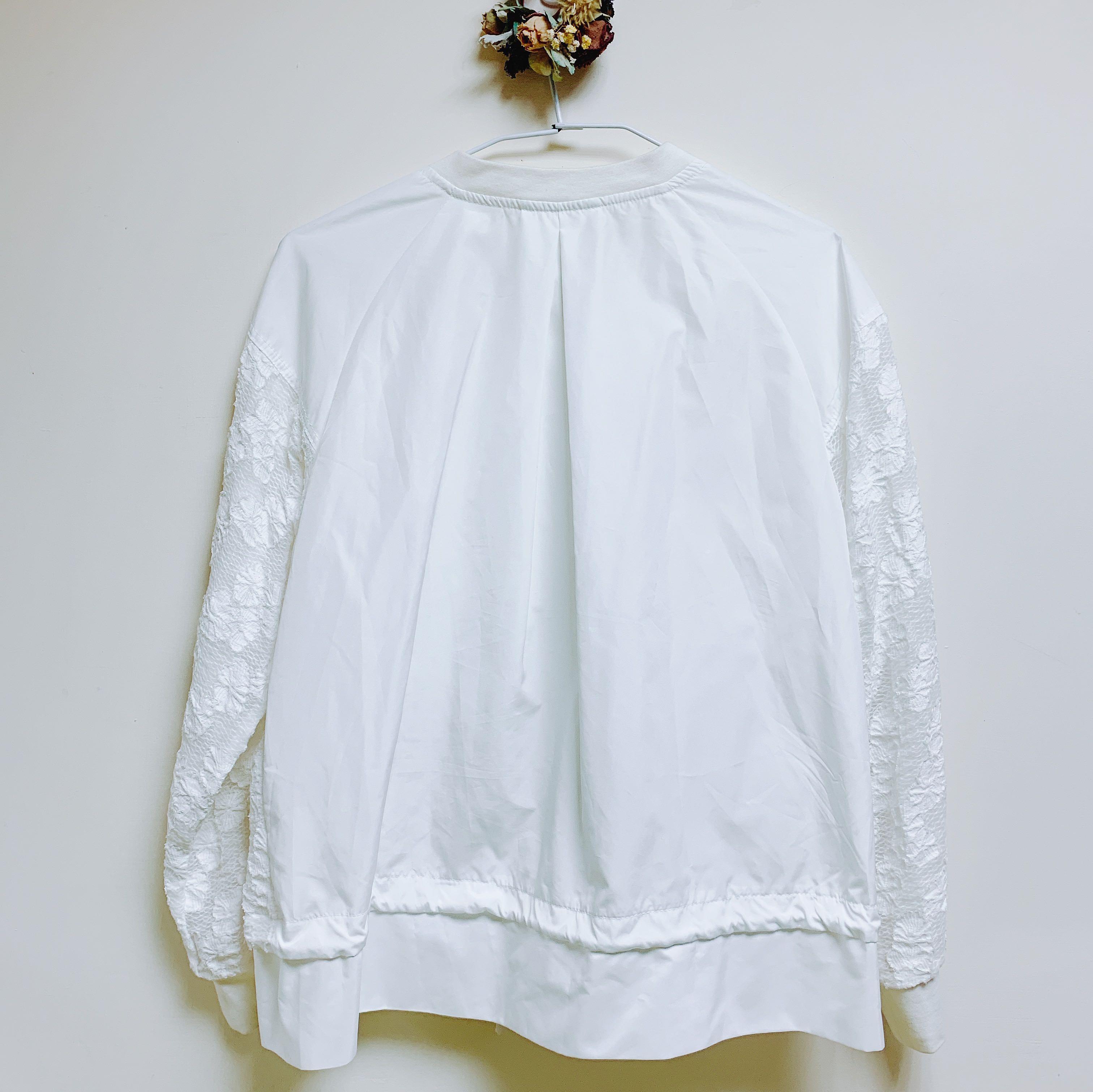 正韓 白色蕾絲設計外套