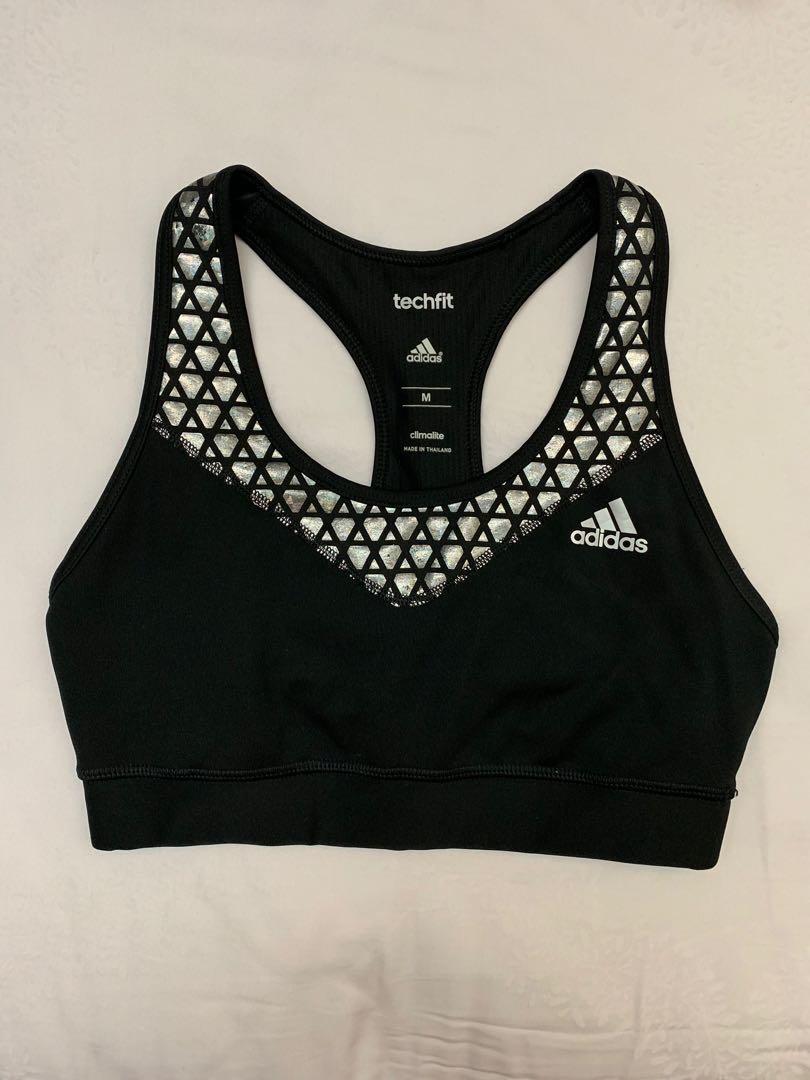 22a1acafc3 Adidas Techfit Sports Bra in Metallic Silver
