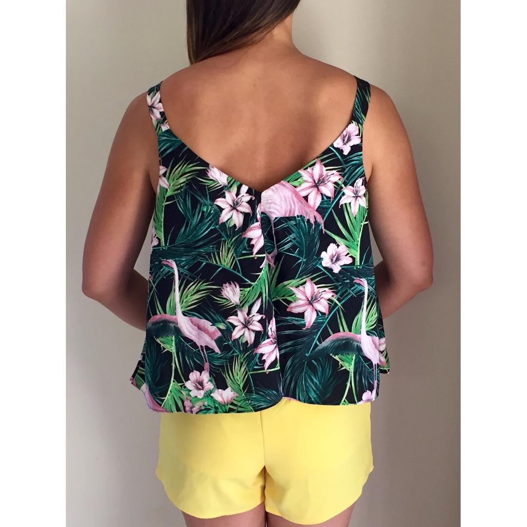 ASOS Black Pink Green Tropical Floral Palm Flamingo Swing Fit Cami Singlet Sz 10