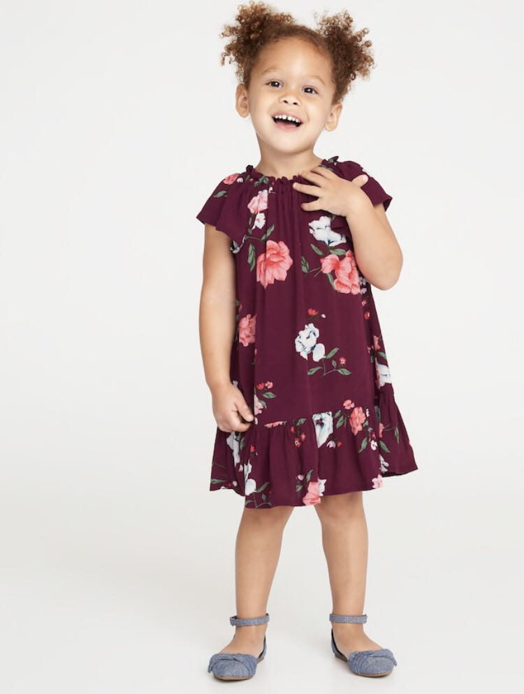ba23aad3cf58 BN Old Navy Baby Girl Burgundy Red Floral Swing Dress 12-24mths ...