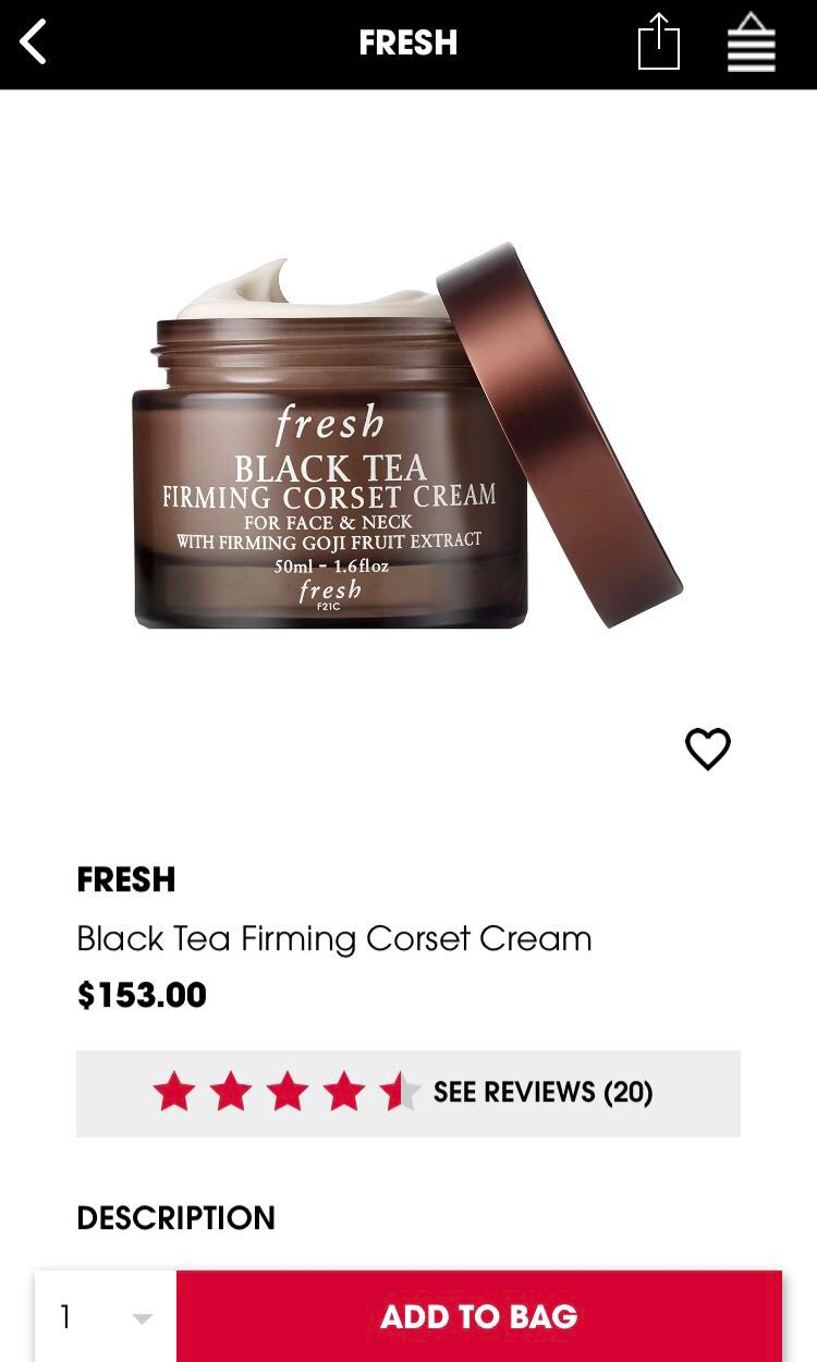cccbe0d93eb BNIB Fresh Black Tea Firming Corset Cream for Face   Neck