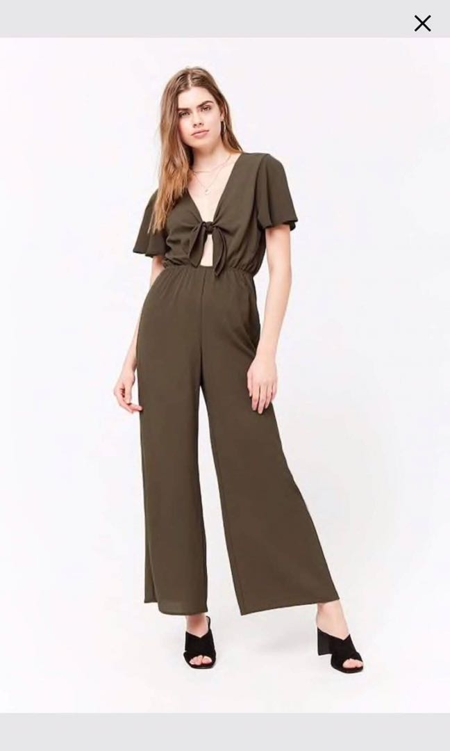 b5380c604b4b BNWT FOREVER 21 army green playsuit jumpsuit romper tie front knot ...