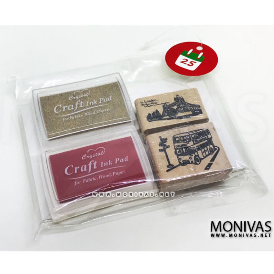 Christmas Gift Sets Diy.Christmas Gift Set Diy Scrapbook Crafting London Rubber Stamps Ink Pads Kraft Cards Present Set