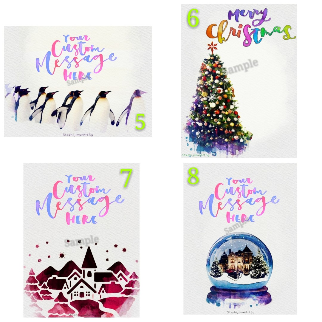 Christmas Postcards.Christmas Postcards With Personalized Calligraphy Message Hand Lettering Card Custom Made