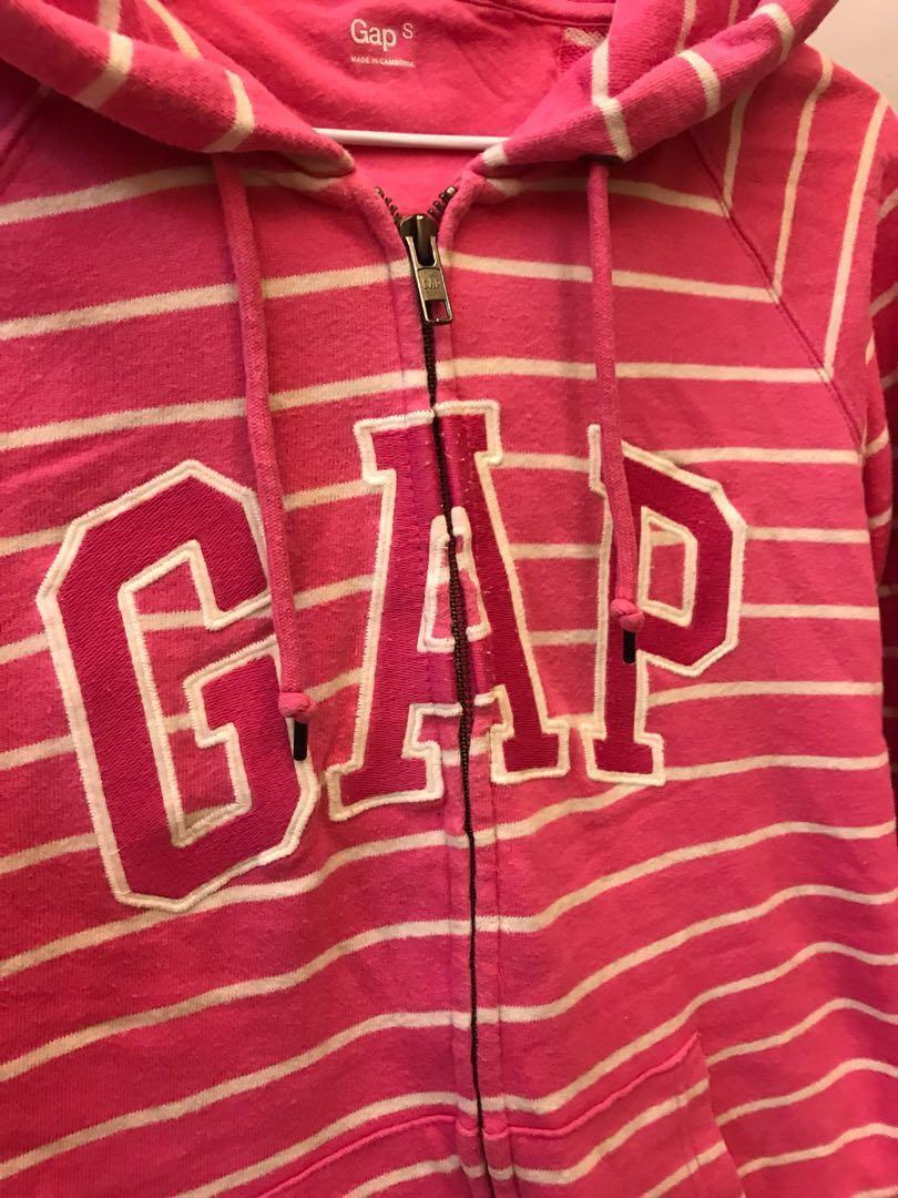 GAP桃紅色條紋帽T外套