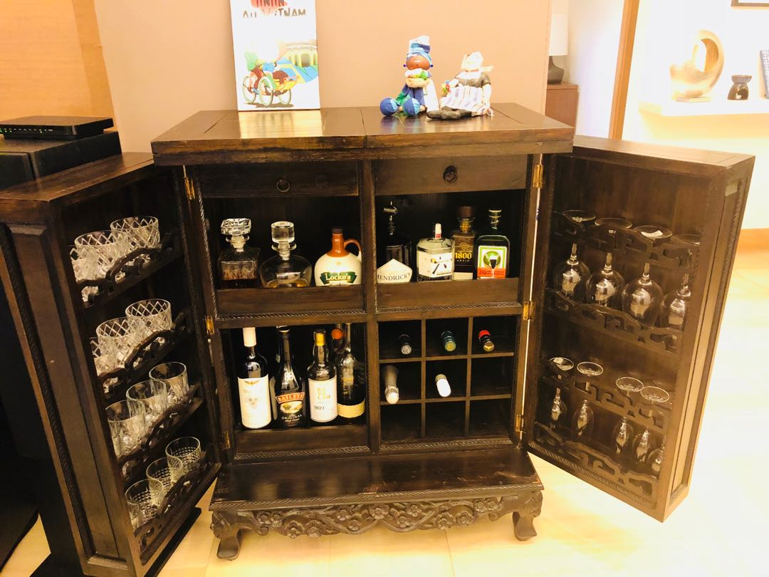 Mini Bar Cabinet Furniture Shelves Drawers On Carousell