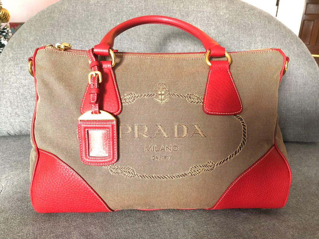 8ee4ec7359e Prada jacquard logo canvas with red leather bag, Luxury, Bags ...